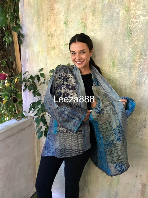 My Greek vacation silk kantha plus size reversible kimono jacket