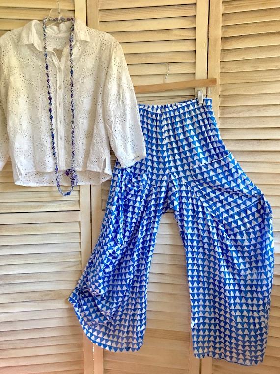 Pool blue cotton voile hand block print lagenlook pant