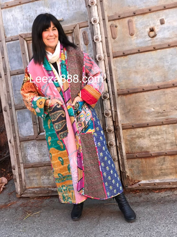 Plus size stunning cotton kantha full length coat thats reversible