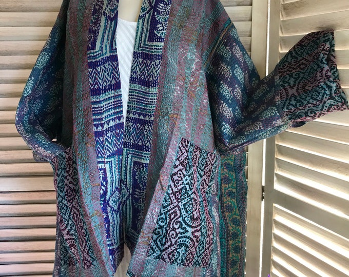 Plus size reversible silk kantha in subtle ocean colors