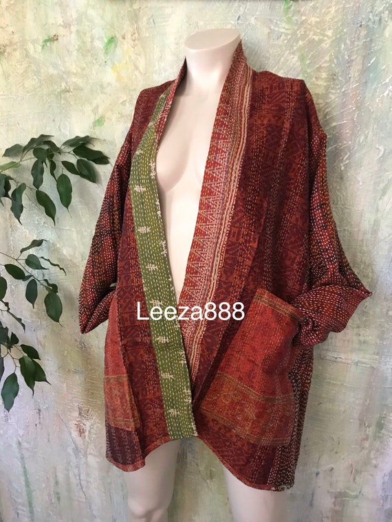 Autumn in Vermont silk kantha plus size reversible kimono jacket