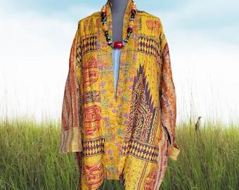 Golden Girl silk kantha plus size reversible kimono jacket