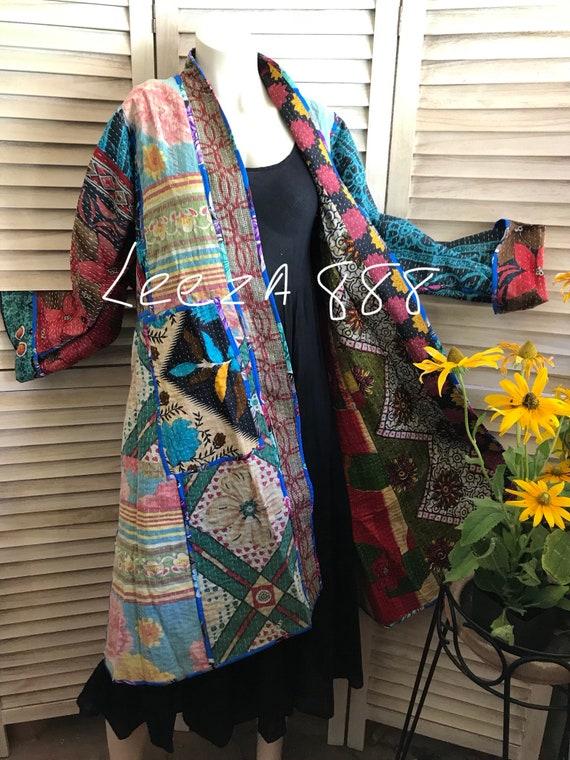 One of a kind reversible kantha kimono