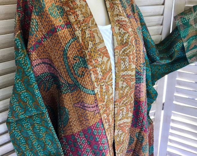 Plus size reversible silk kantha kimono in rustic seaglass colors