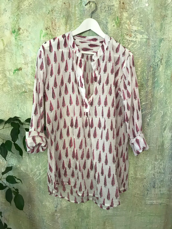 The Alexandra pullover shirt in pink leaf blockprint   cotton voile