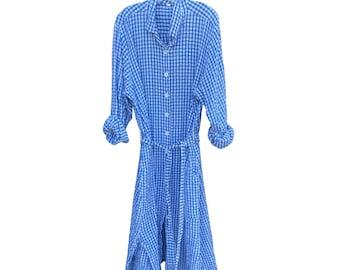 Cotton seersucker gingham button down shirtdress/duster