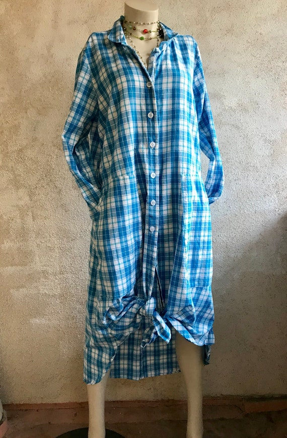 Turquoise plaid button down shirtdress/duster