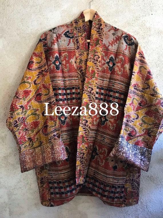 Arizona Adventures silk kantha plus size reversible kimono jacket