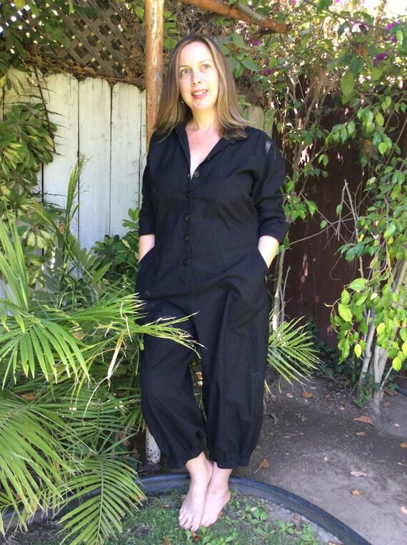 Button front black cotton jumpsuit/flight suit