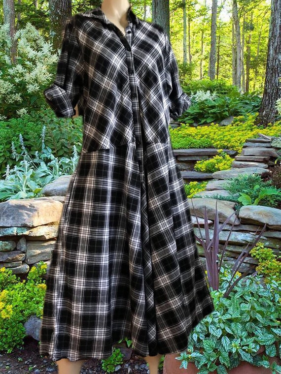 Plaid dropped waist housedress