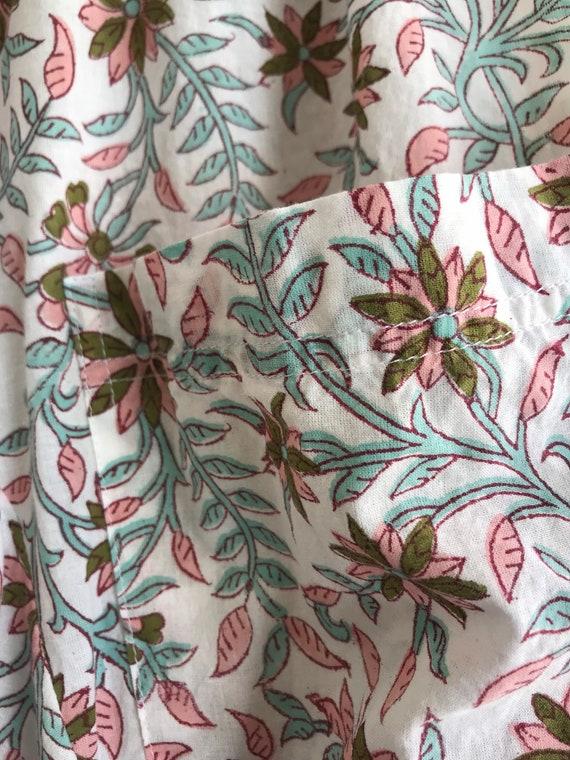Peach and aqua Floral super lightweight cotton voile lagenlook pant