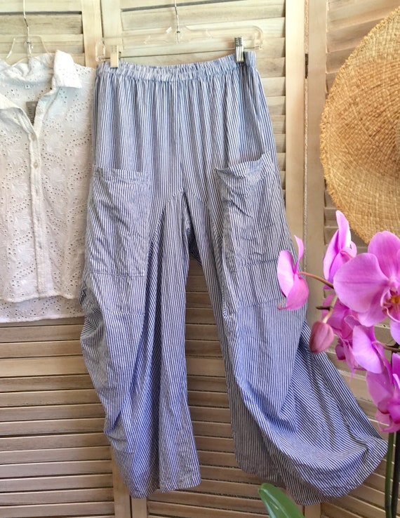 Cotton ticking blue pinstripe lagenlook pant in size small