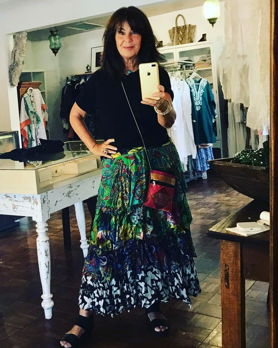 Designer silk dark florals and butterflies layered gypsy skirt