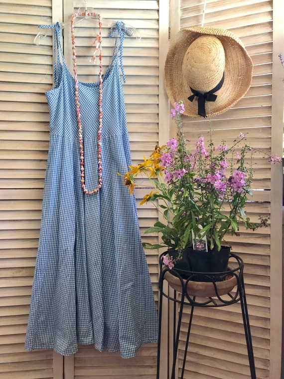 Blue and white gingham cotton sundress