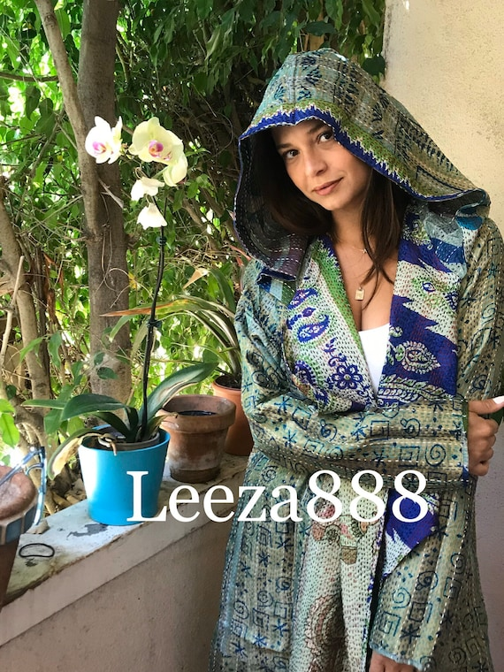 Peridot and lapis colors silk kantha reversible hoodie