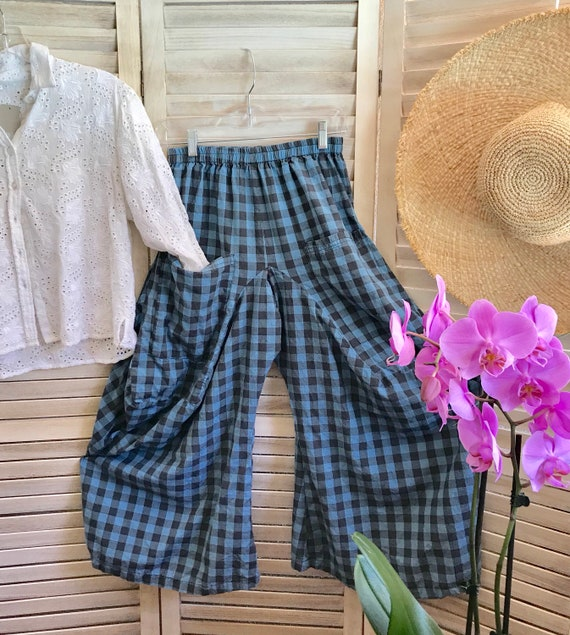 Size small blue/grey check lagenlook pant