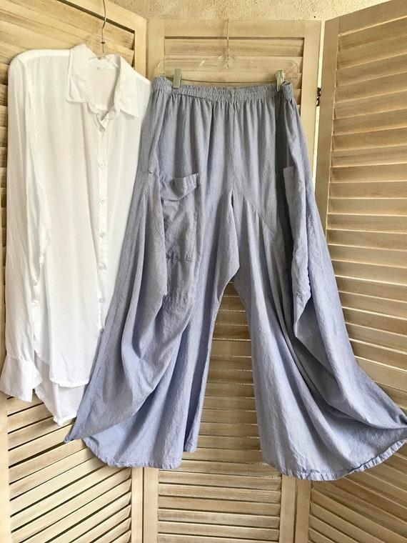 Extra large periwinkle micro pinstripe lagenlook pants