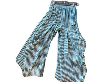Super lightweight cotton voile green stripe lagenlook pant