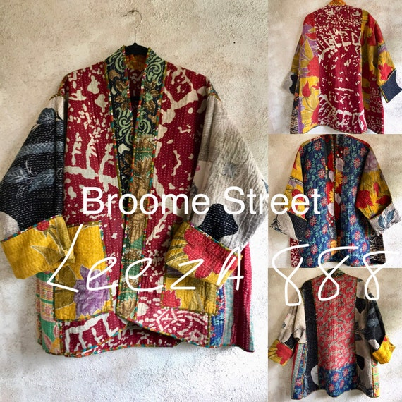 Broome Street artsy reversible cotton quilted plus size kimono style jacket