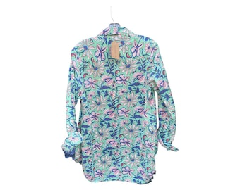 Classic Boyfriend shirt in cotton voile blue and green floral