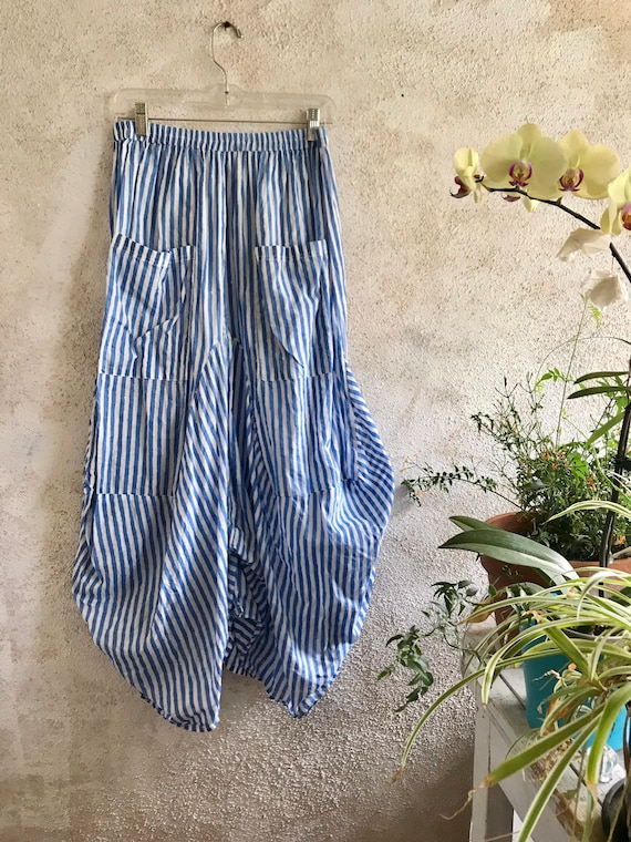 Funky skirt in blue striped block print cotton voile