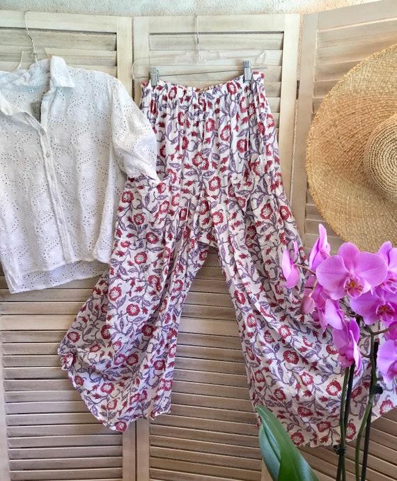 Floral cotton block print lagenlook pant