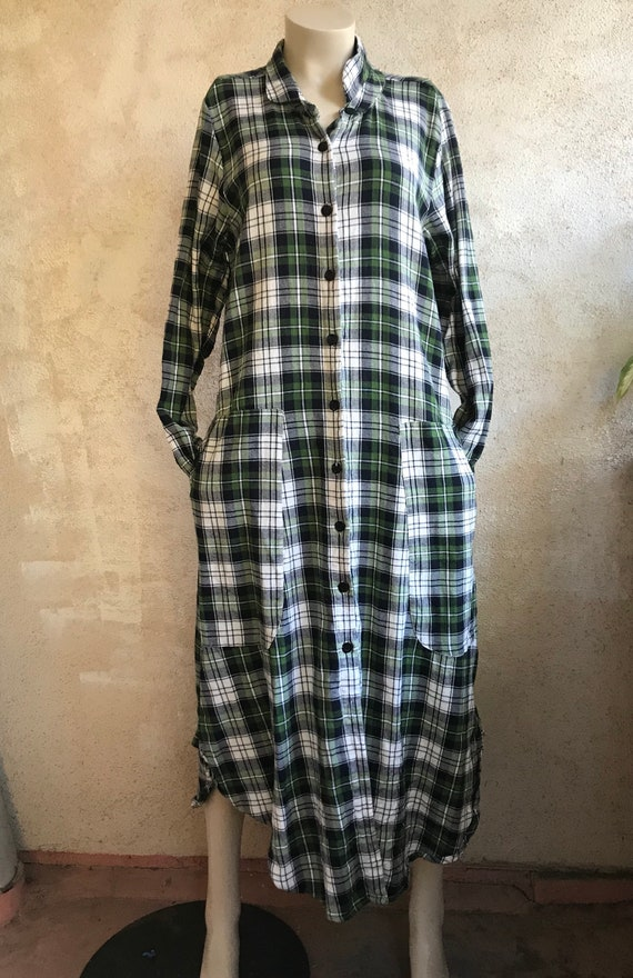 Green plaid flannel shirtdress