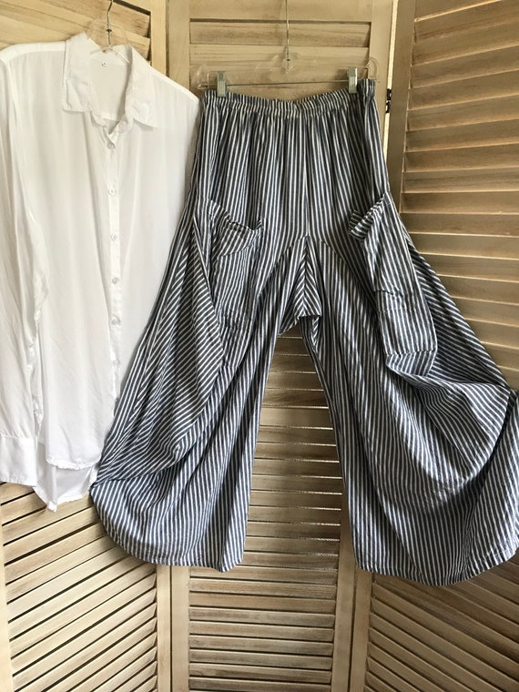 Chambray stripe lagenlook pant
