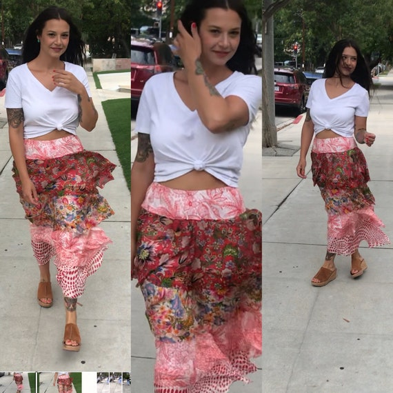 Designer silk layered gypsy skirt