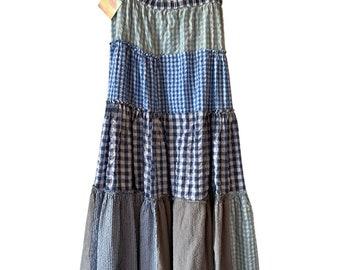 Full circle mixed gingham maxi skirt