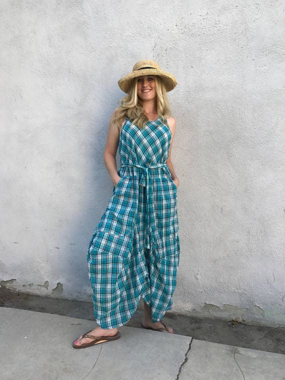 Teal green plaid lagenlook dress