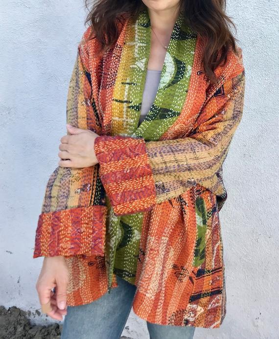 Orange punch plus size silk kimono
