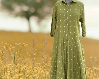 Olive green cotton/linen housedress