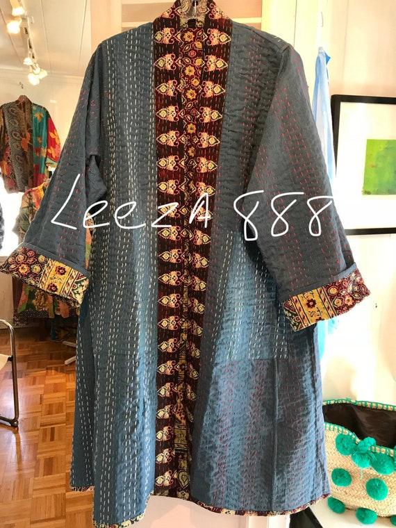 Indigo quilt slim reversible cotton kimono/duster