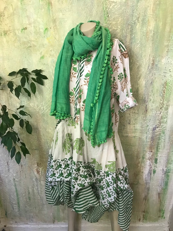 Leaf green Shirtwaist prairie dress mixed print hand  wood block print housedress