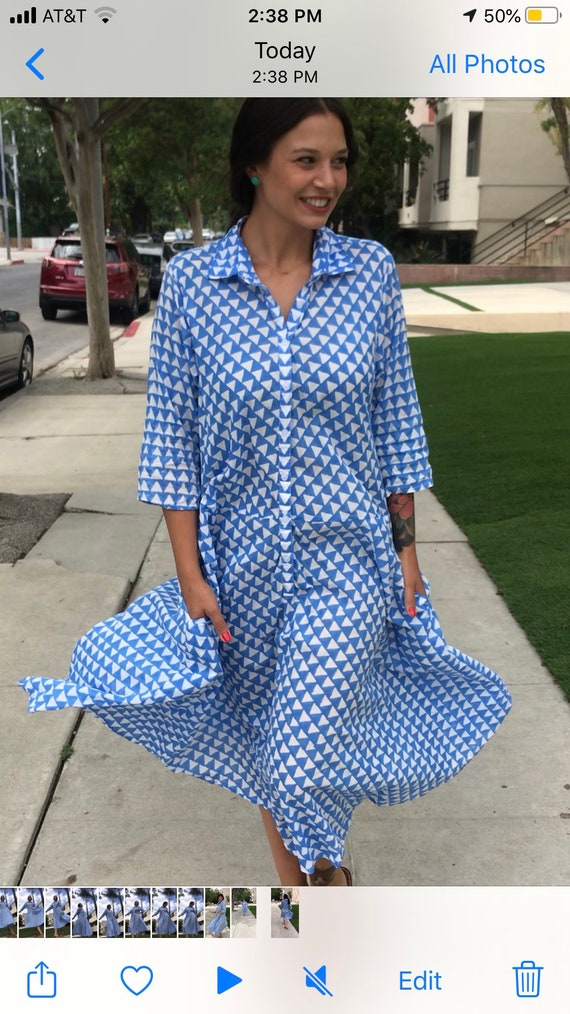 French blue hand  wood block print housedress