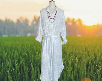 Lightweight white cotton texture button down shirtdress/duster
