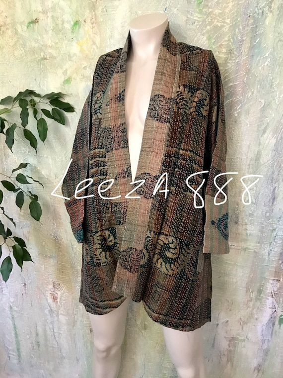 Lily Pond silk kantha plus size reversible kimono jacket