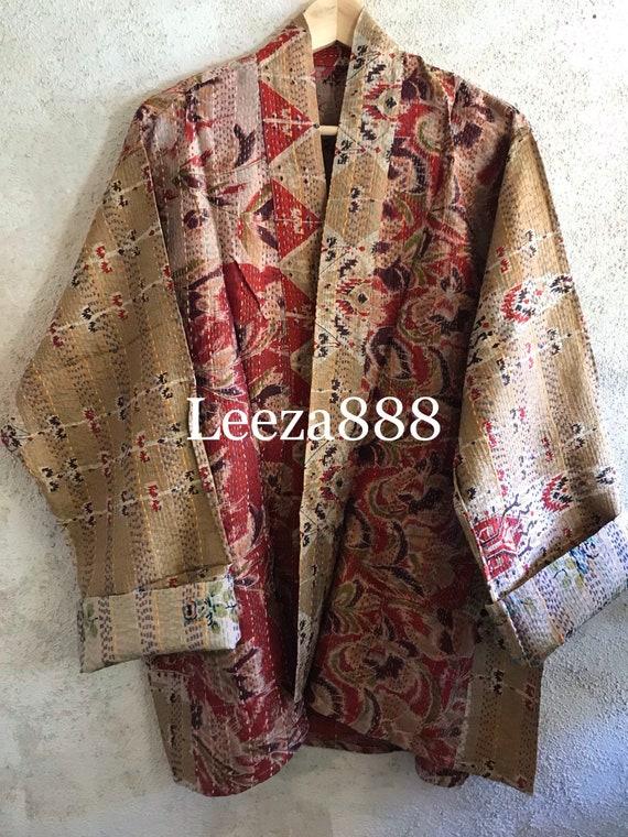 Chinese Lantern silk kantha plus size reversible kimono jacket