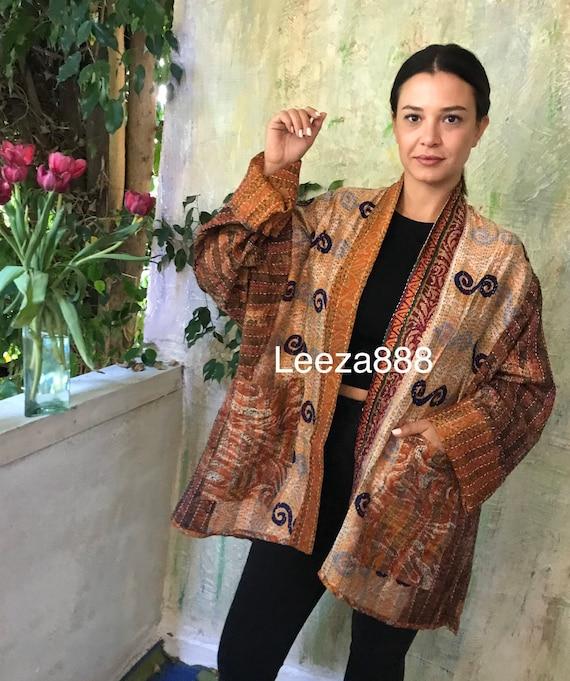 Arizona sunrise silk kantha plus size reversible kimono jacket