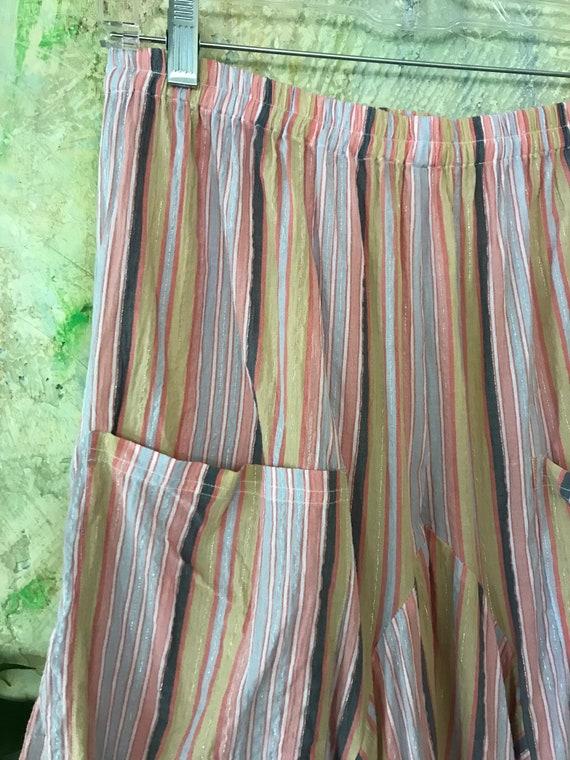 Pastel metallic stripe cotton lagenlook pant