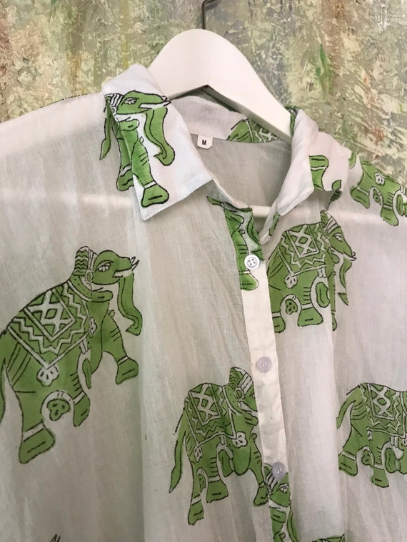 Tokyo button down square top in weightless green elephant cotton voile block print
