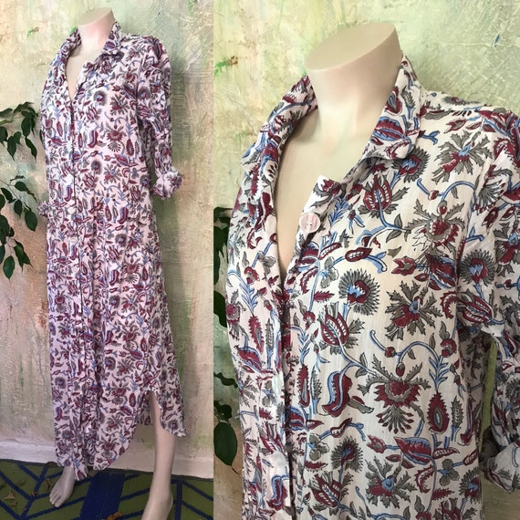 English Garden Floral blockprint cotton voile button down shirtdress/duster