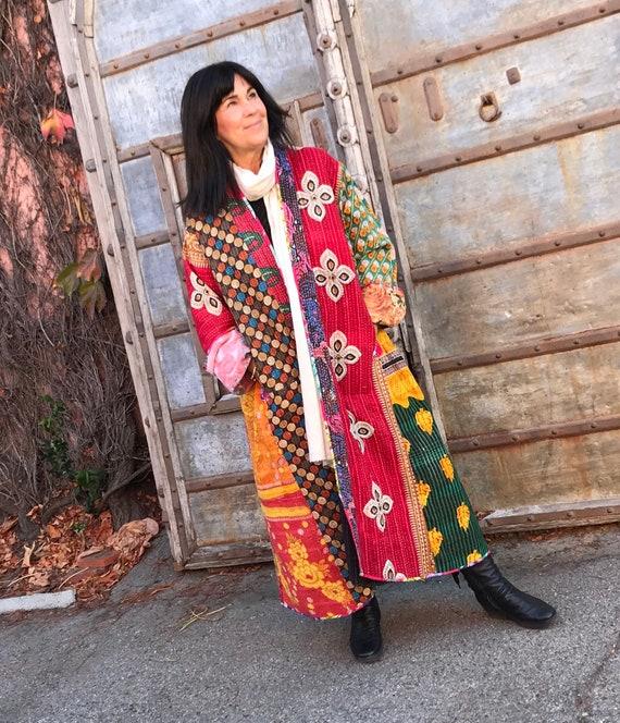 Plus size stunning cotton kantha full length coat thats reversible