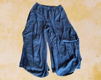 Winter weight flannel navy stripefabulous cotton lagenlook pant