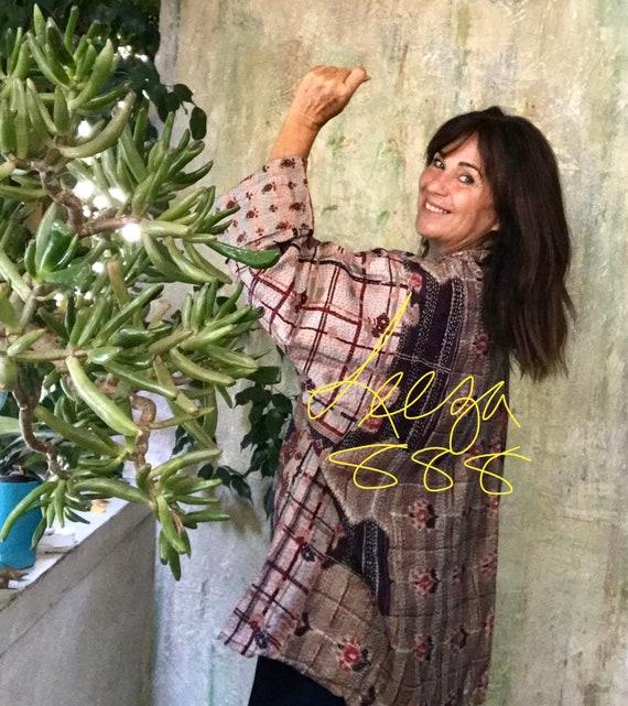 Italian for Lovers kantha plus size reversible kimono jacket