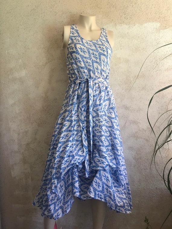 French blue geometric block print cotton voile picnic dress.