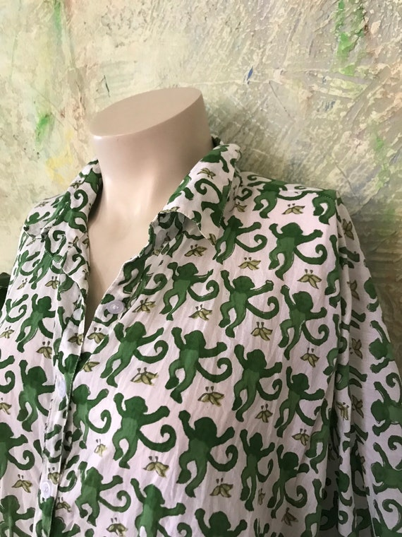 Tokyo button down square top in weightless green monkey cotton voile block print