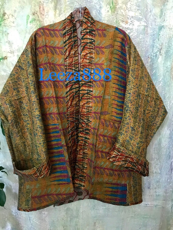 Spirit World kantha plus size reversible kimono jacket