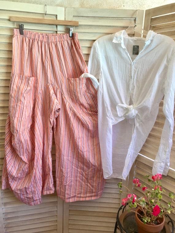 Size medium cotton pinstripe lagenlook pants